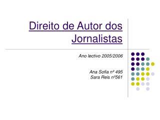 Direito de Autor dos Jornalistas