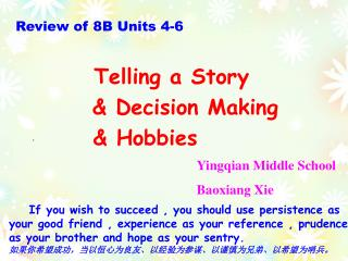 Review of 8B Units 4-6