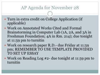 AP Agenda for November 28
