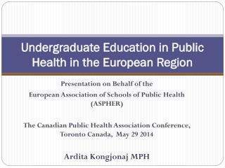Undergraduate Education in Public Health in the European Region
