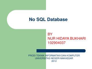 No SQL Database