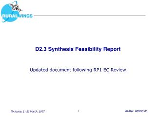 D2.3 Synthesis Feasibility Report