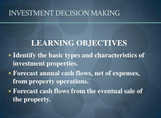 INVESTMENT DECISION MAKING