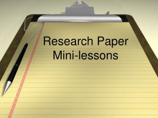 Research Paper  Mini-lessons