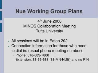 Nue Working Group Plans