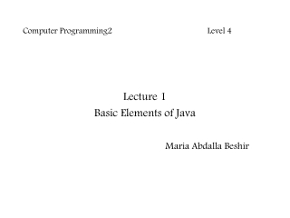 Basic Elements of Java