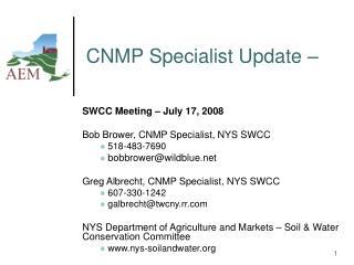 CNMP Specialist Update –
