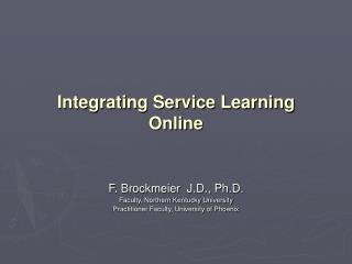 Integrating Service Learning    Online