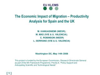 The Economic Impact of Migration – Productivity Analysis for Spain and the UK
