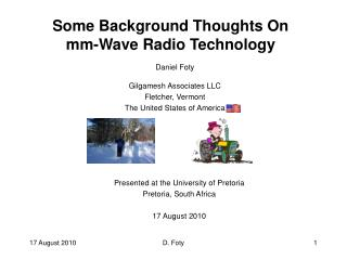 Some Background Thoughts On mm-Wave Radio Technology