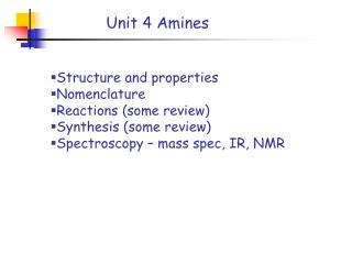 Structure and properties Nomenclature  Reactions (some review) Synthesis (some review)