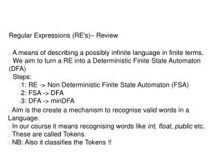 Regular Expressions (RE's)– Review