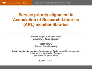 Service priority alignment in Association of Research Libraries (ARL) member libraries