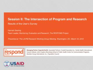 Session II: The Intersection of Program and Research