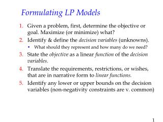 Formulating LP Models
