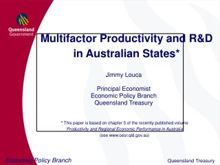 Multifactor Productivity and R&D  in Australian States*