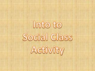 Into to Social Class Activity