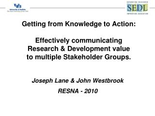 Joseph Lane & John Westbrook RESNA - 2010