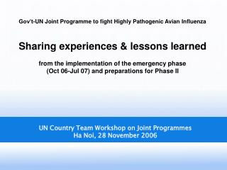 UN Country Team Workshop on Joint Programmes Ha Noi, 28 November 2006