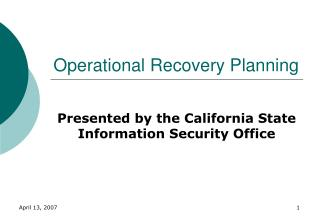 Operational Recovery Planning