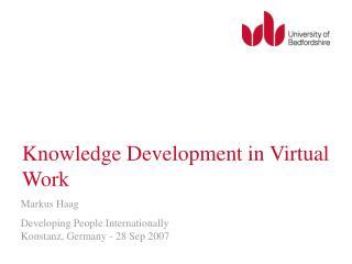 Knowledge Development in Virtual Work