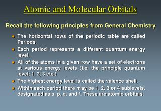 Atomic and Molecular Orbitals