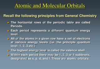 Atomic and Molecular Orbitals