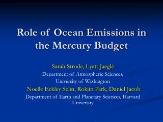 Role of Ocean Emissions in the Mercury Budget