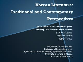 Korean Literature: Traditional and Contemporary Perspectives