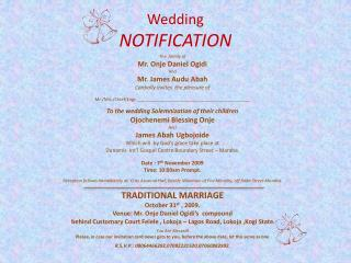 Wedding  NOTIFICATION