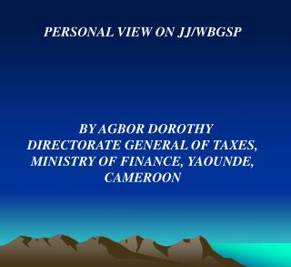 PERSONAL VIEW ON JJ/WBGSP   BY AGBOR DOROTHY