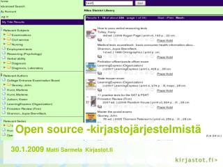 Open source -kirjastojärjestelmistä