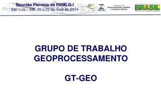 GRUPO DE TRABALHO GEOPROCESSAMENTO GT-GEO
