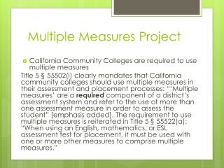 Multiple Measures Project
