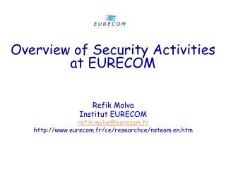 Overview of Security Activities at EURECOM
