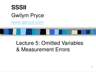 Lecture 5: Omitted Variables  Measurement Errors