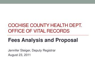 COCHISE COUNTY HEALTH DEPT. OFFICE OF VITAL RECORDS