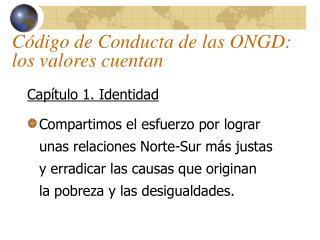 Código de Conducta de las ONGD: los valores cuentan
