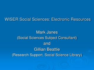 WISER Social Sciences: Electronic Resources