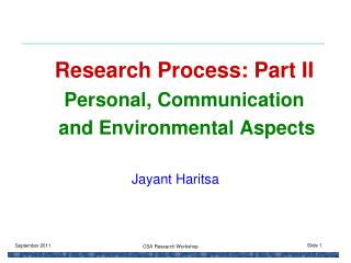 Research Process: Part II Personal, Communication  and Environmental Aspects