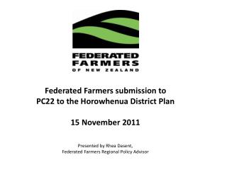 Federated Farmers of  New Zealand.