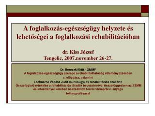 Dr. Bereczki Edit - OMMF  A foglalkozás-egészségügy szerepe a rehabilitálhatóság véleményezésében