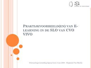 Praktijkvoorbeeld(en) van  E-learning  in de SLO van CVO VIVO