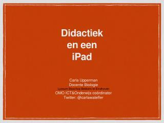 Didactiek  en een  iPad