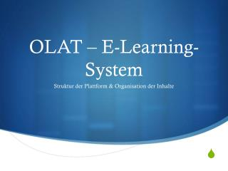 OLAT � E-Learning-System