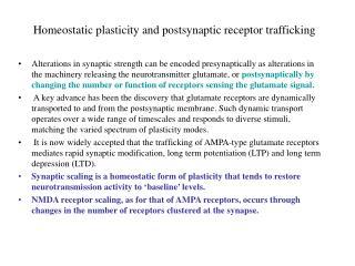 Homeostatic plasticity and postsynaptic receptor trafficking