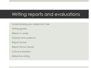 Writing reports and evaluations
