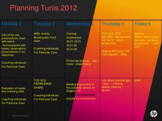 Planning Tunis 2012