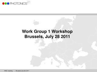 Work Group 1 Workshop Brussels, July 28 2011