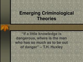 Emerging Criminological Theories